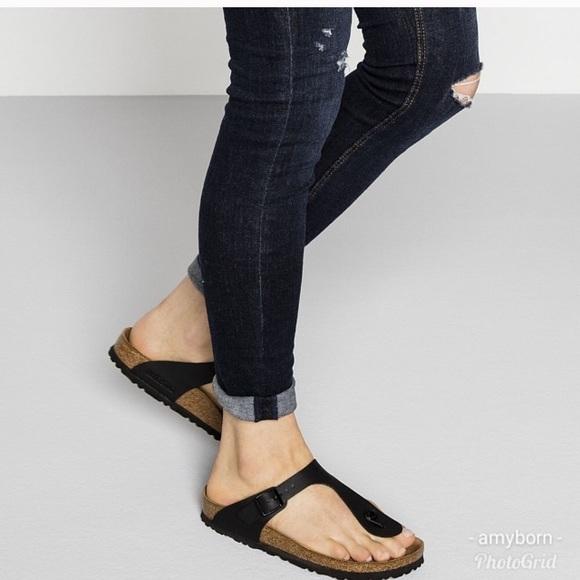 66caf80e432f83 Birkenstock Shoes - Birkenstock Gizeh Thong Birko Flor Sandals Black
